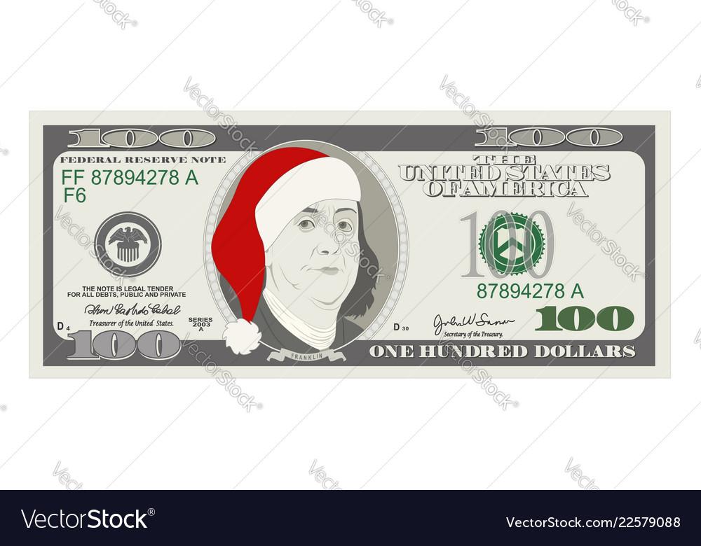 Design template 50 dollars banknote with santa