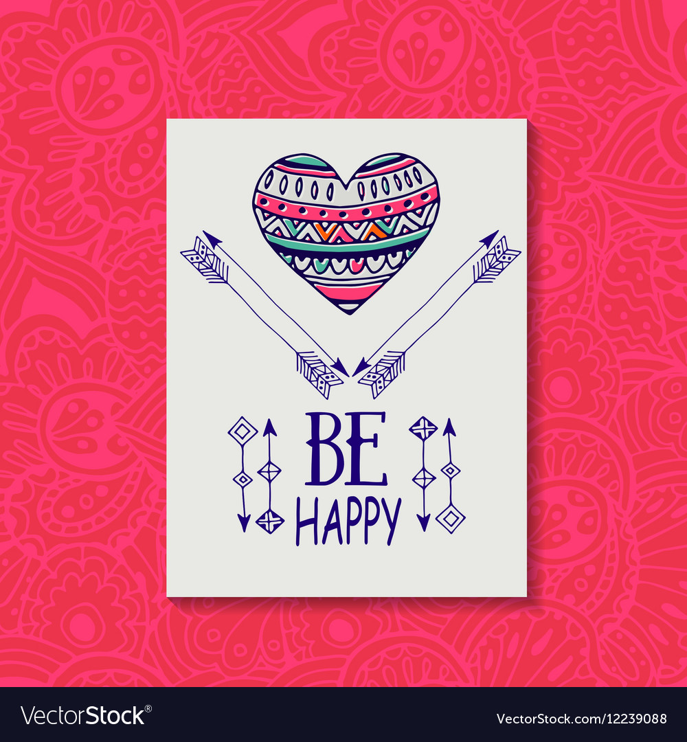 Ethnic pattern with the image of hearts and arrows vector image