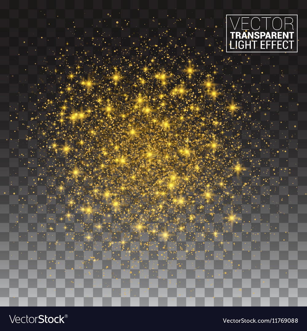Glitter particles effect Gold glittering Space vector image
