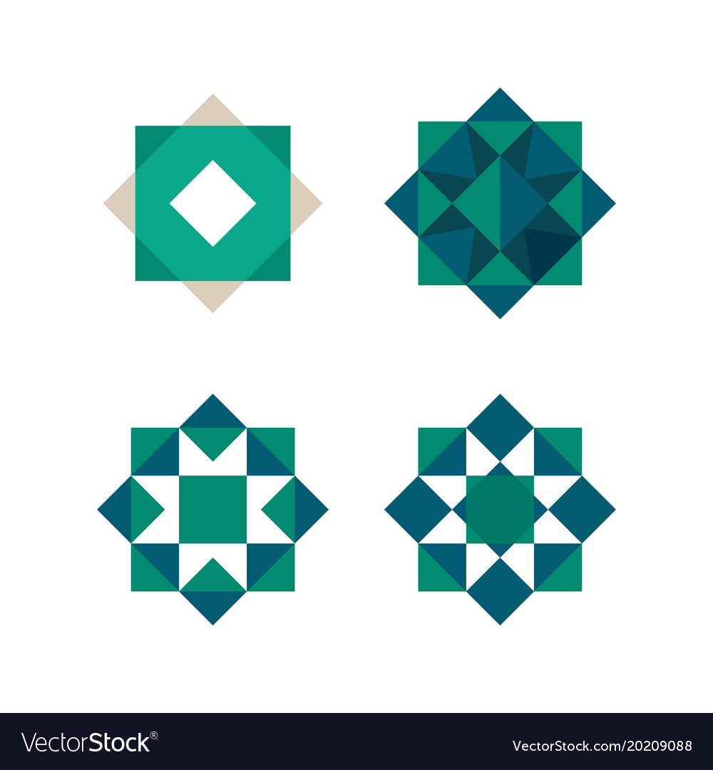 Green triangles and squares shape abstract