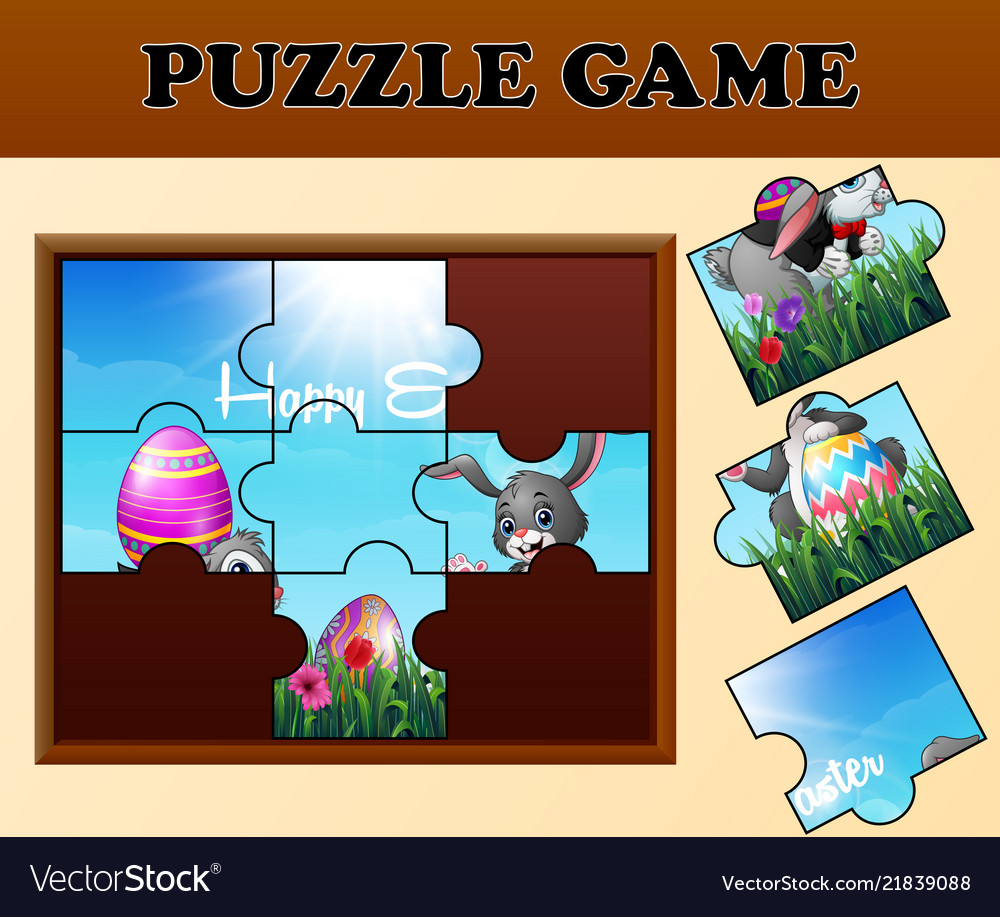 Jigsaw puzzle game with happy easter bunnies