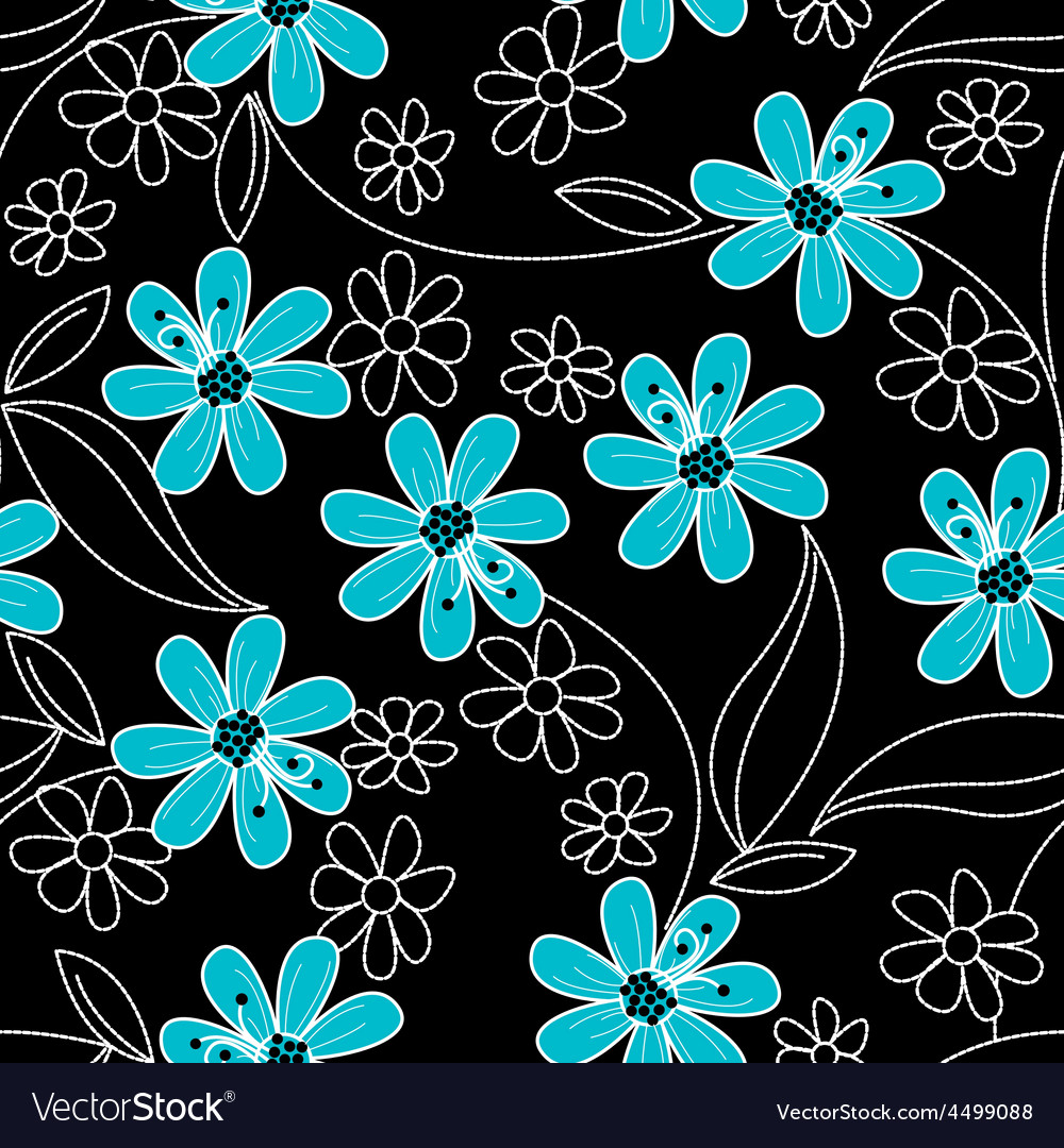 Light Blue Flowers On Black And White Embroidery Vector Image