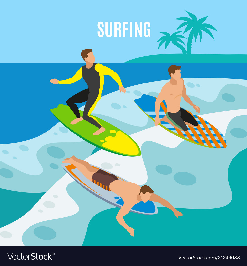 Surfing isometric background
