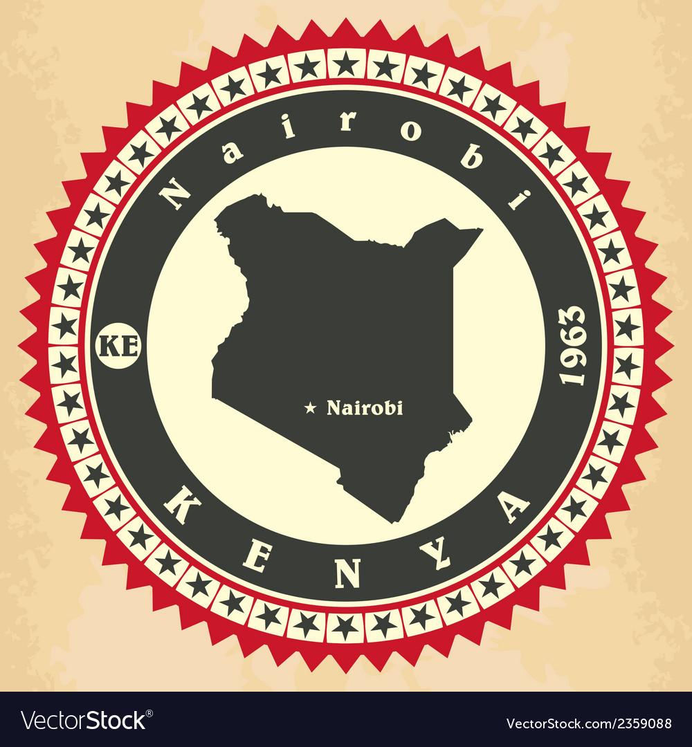 Vintage label-sticker cards of Kenya vector image