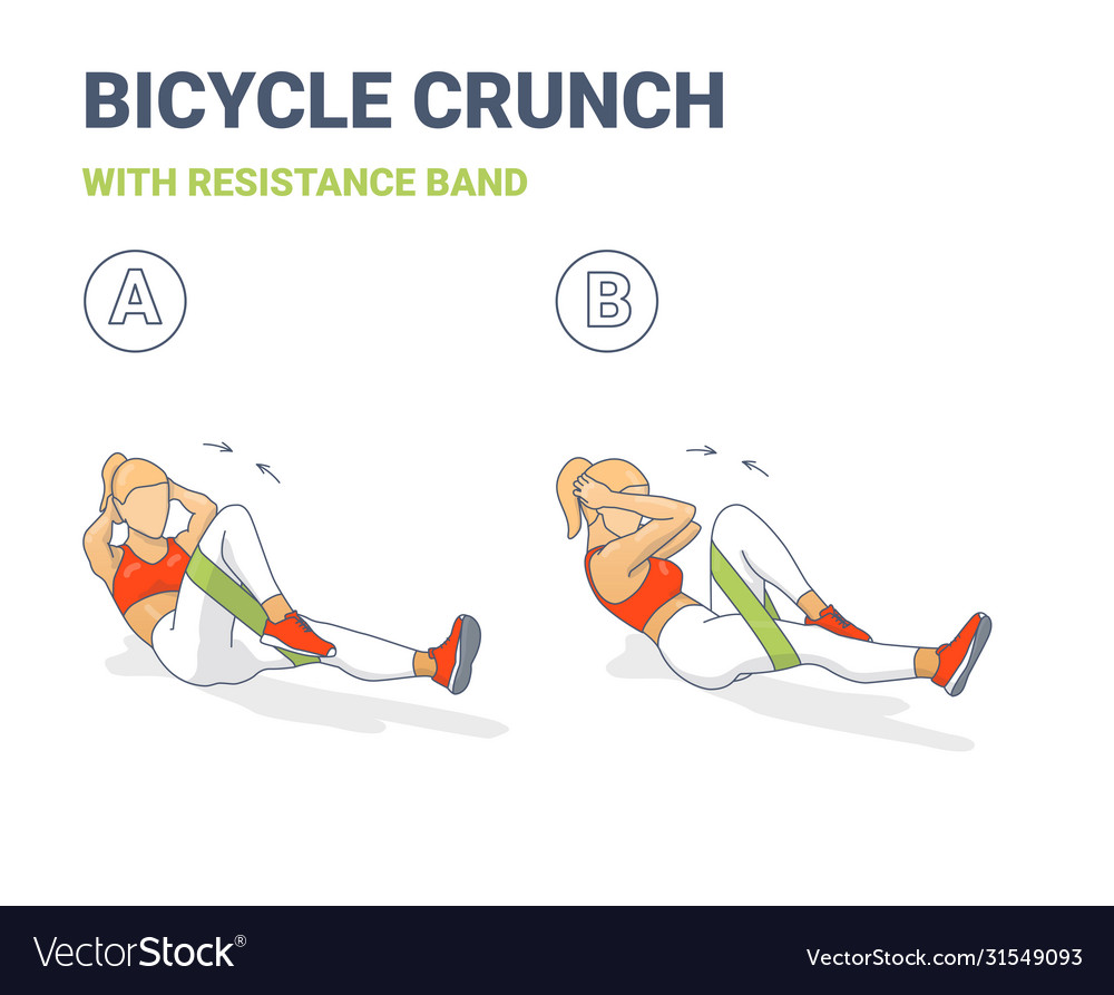 Bicycle Crunch Abs With Resistance Band Girls Vector Image