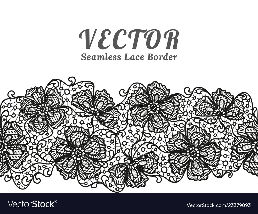Black seamless lace border with flowers on white