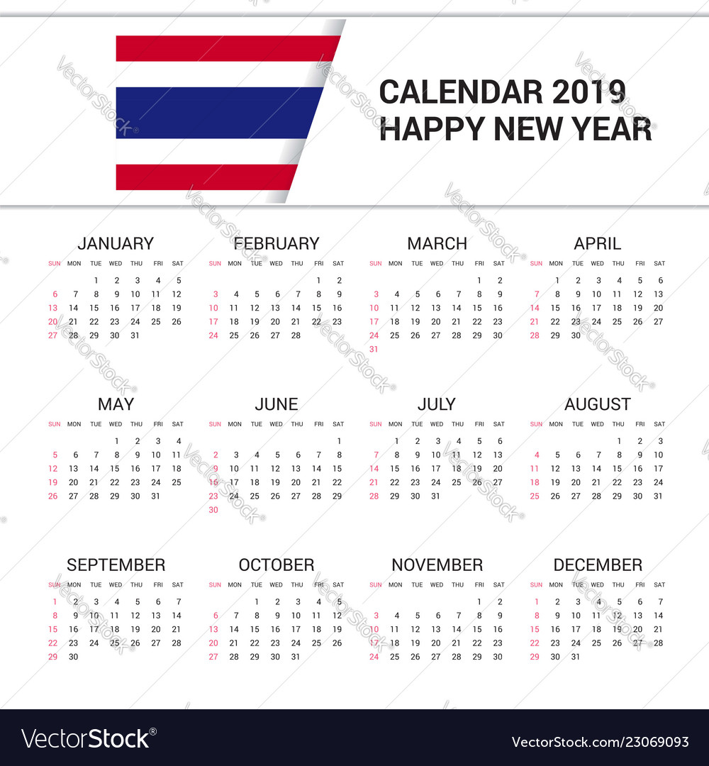Calendar Thailand 2019 Happy, Thailand & 2019 Vector Images (39)