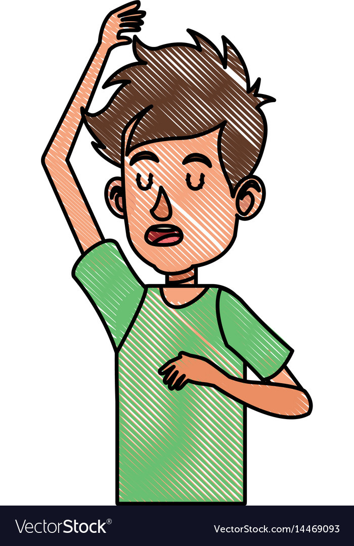 Drawing young boy teen male image vector image