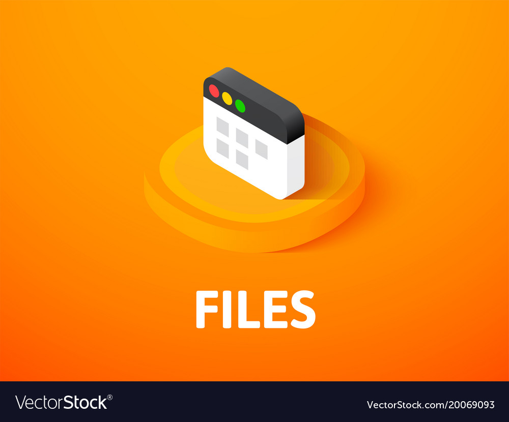 Files isometric icon isolated on color background