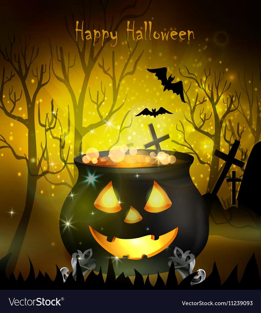 Halloween witches cauldron vector image