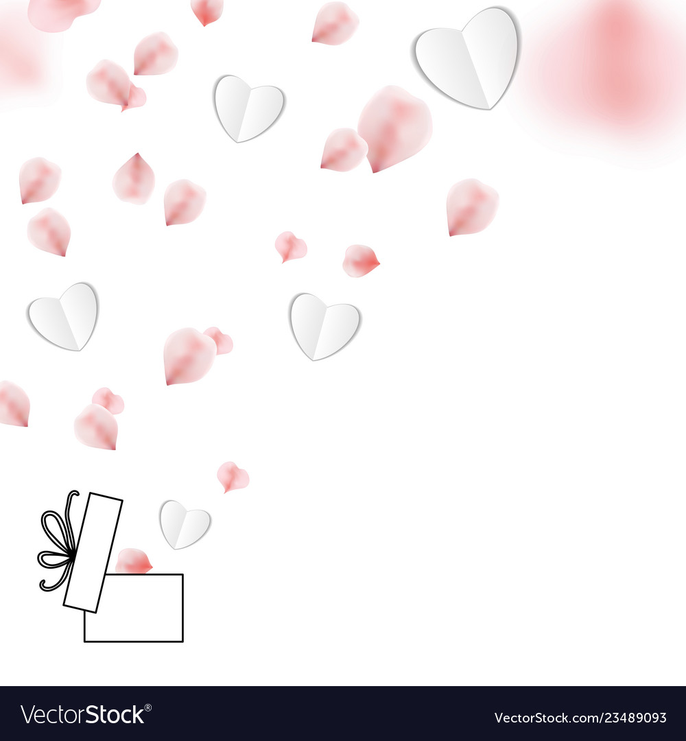 Happy valentines day with rose petals and gift box