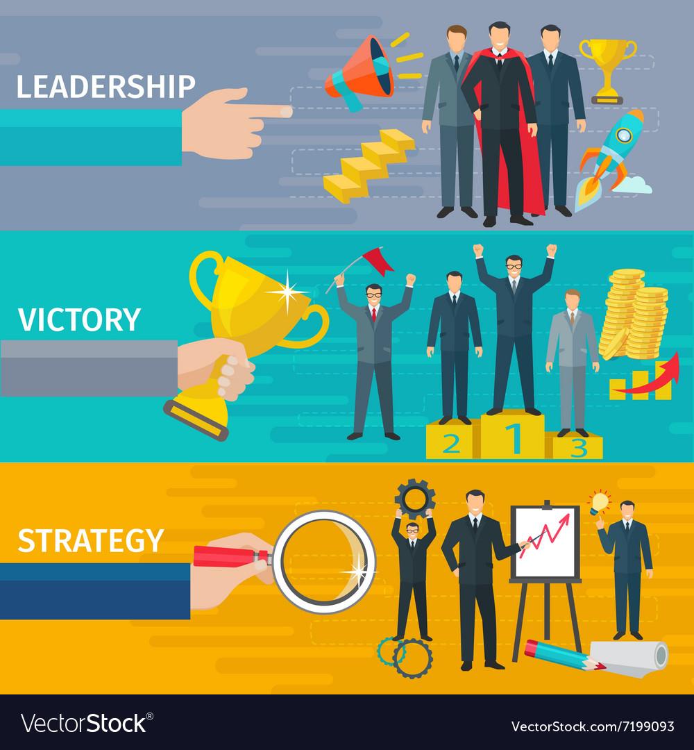 Leadership Banners Set Royalty Free Vector Image