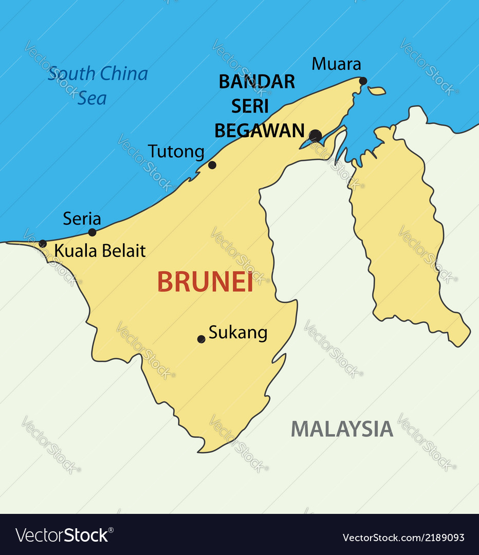 Nation Of Brunei The Abode Of Peace Map Vector Image