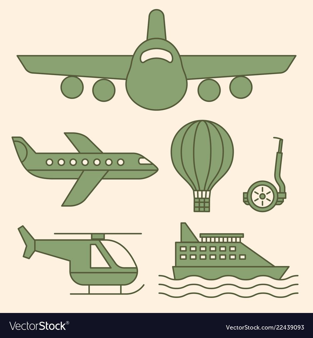 Ship airplane vintage icons