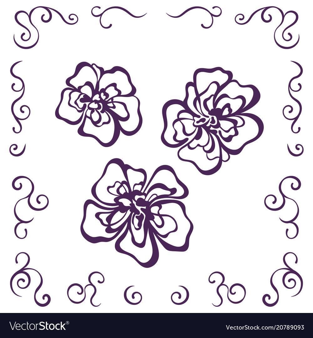 Silhouette decorative flower set vector image
