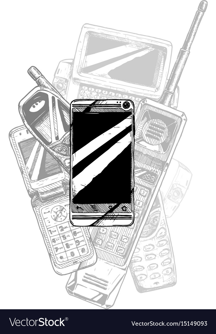 Touchscreen smartphone evolution vector image