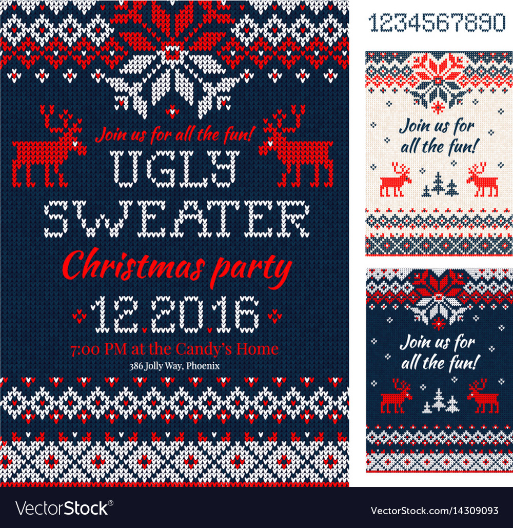 Ugly sweater christmas party cards knitted