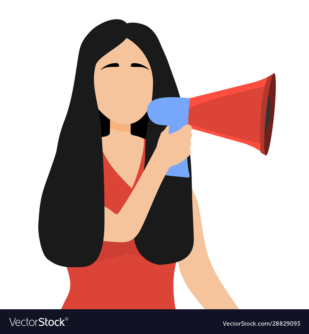 Woman speaks in a sound megaphone isolated on