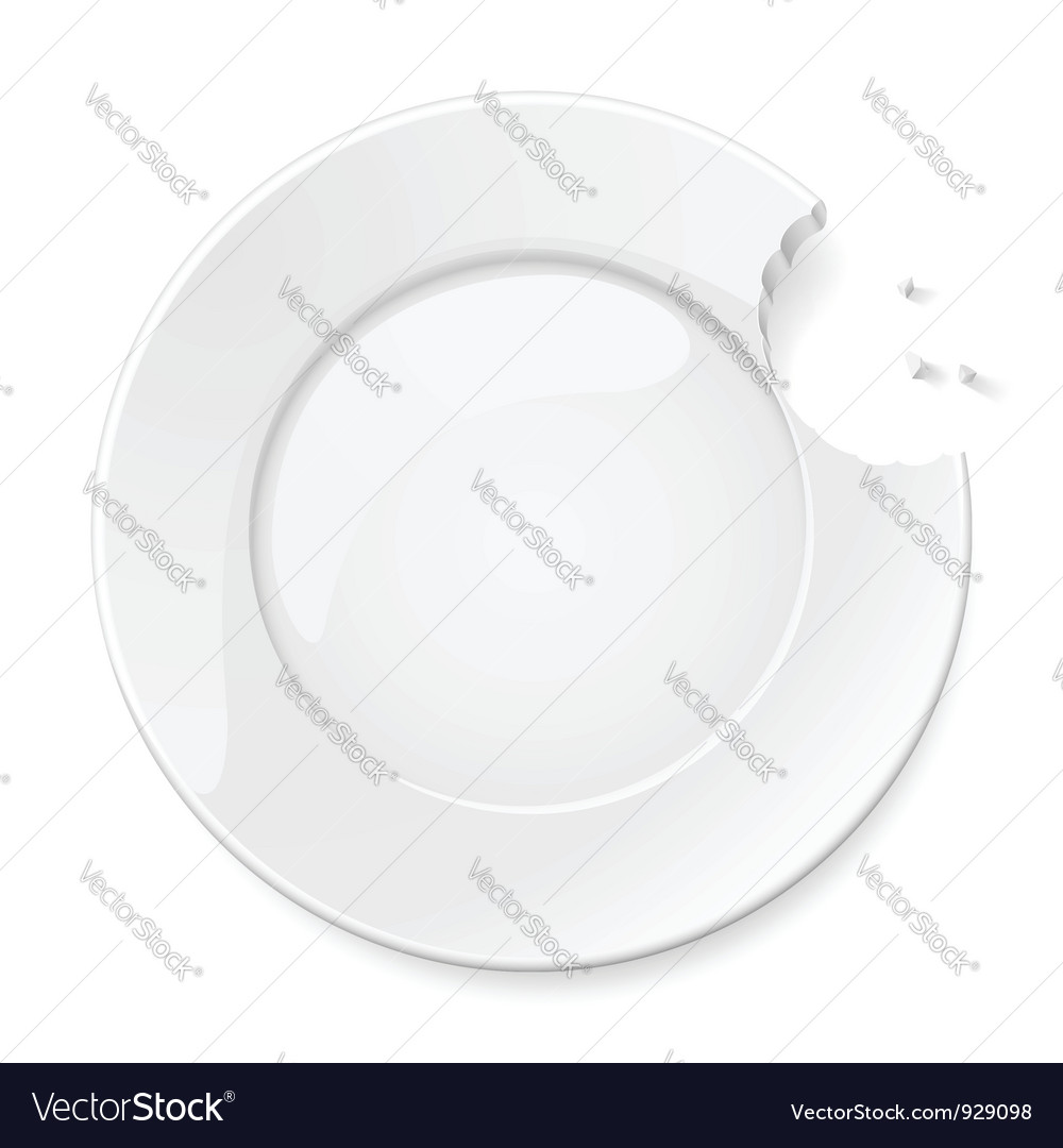 Abstract bitten plate vector image