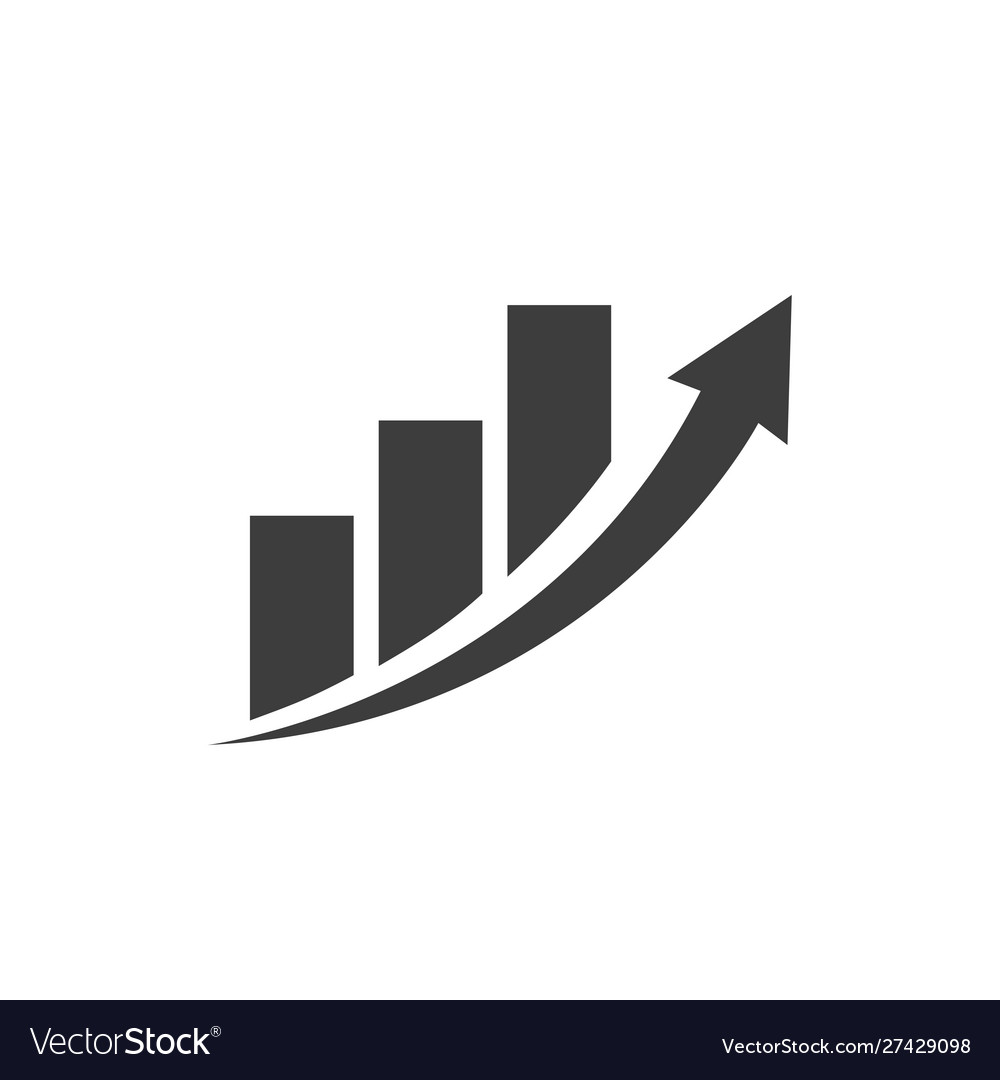 Business chart icon with arrow
