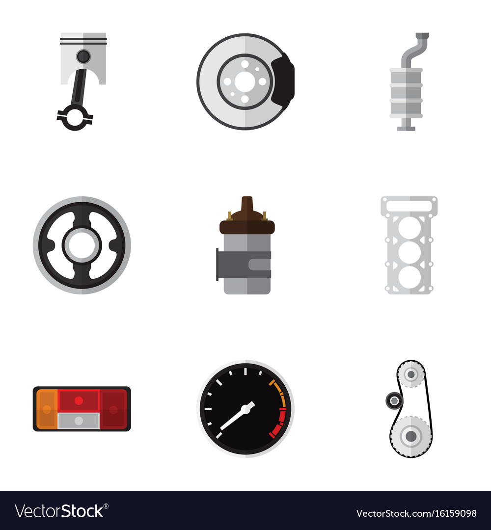 Flat icon parts set of cambelt belt conrod and vector image