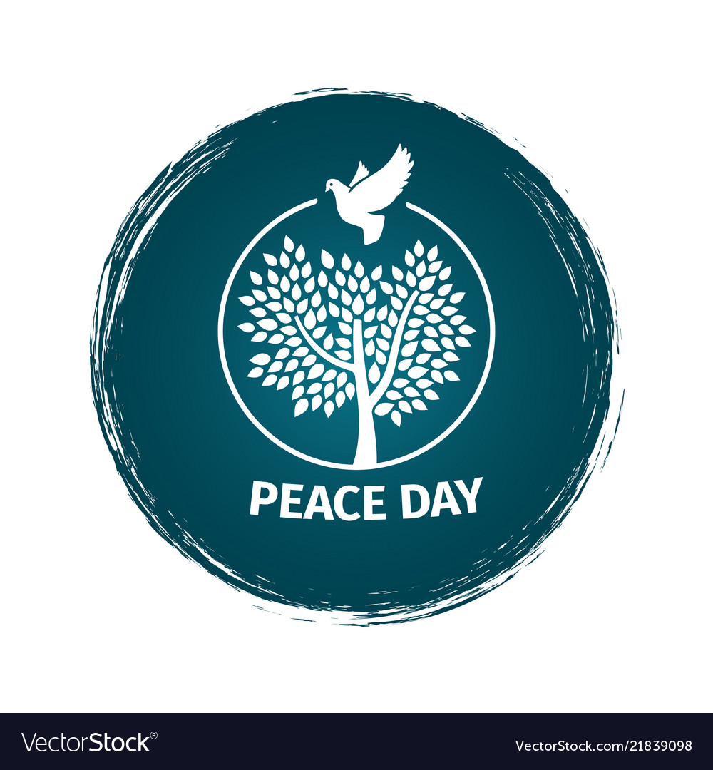 Grunge peace day logo with dove and tree
