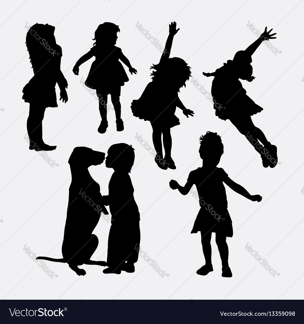 Kid playing action silhouette