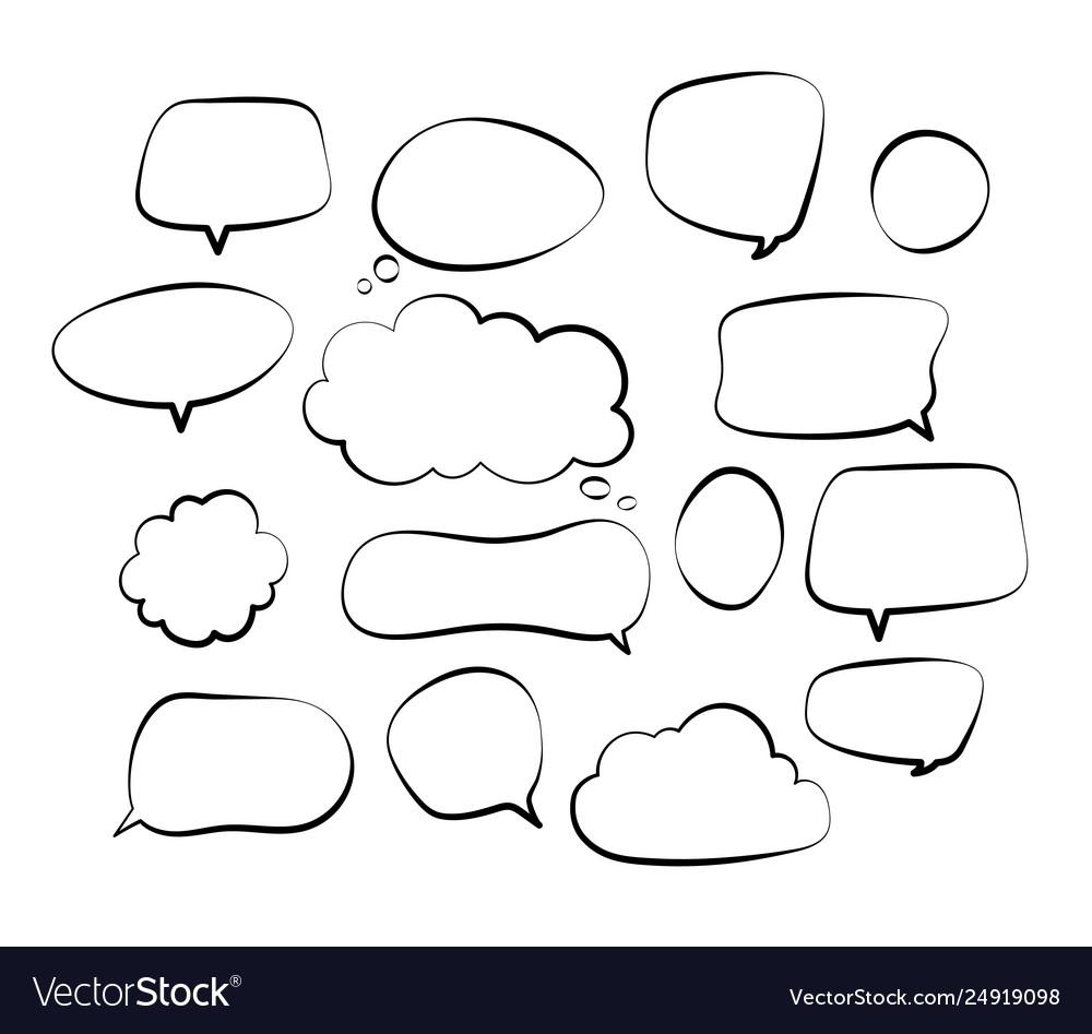 Outline speech bubbles doodle speech balloon