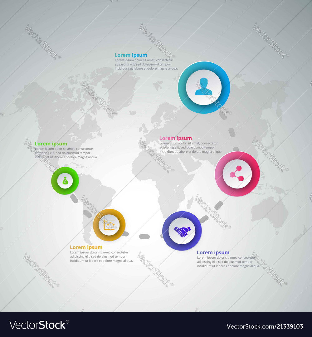 5 steps of infographic with blue magenta purple