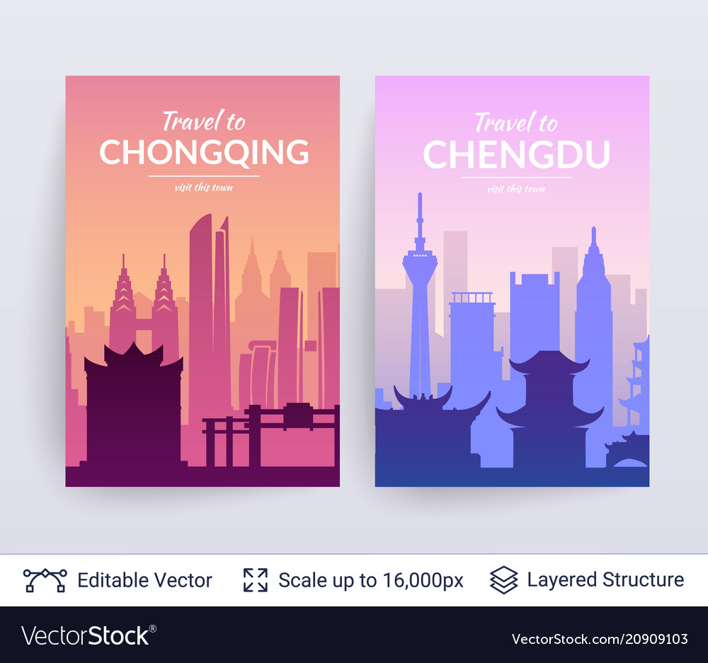 Chongqing and chengdu famous chinese city scapes