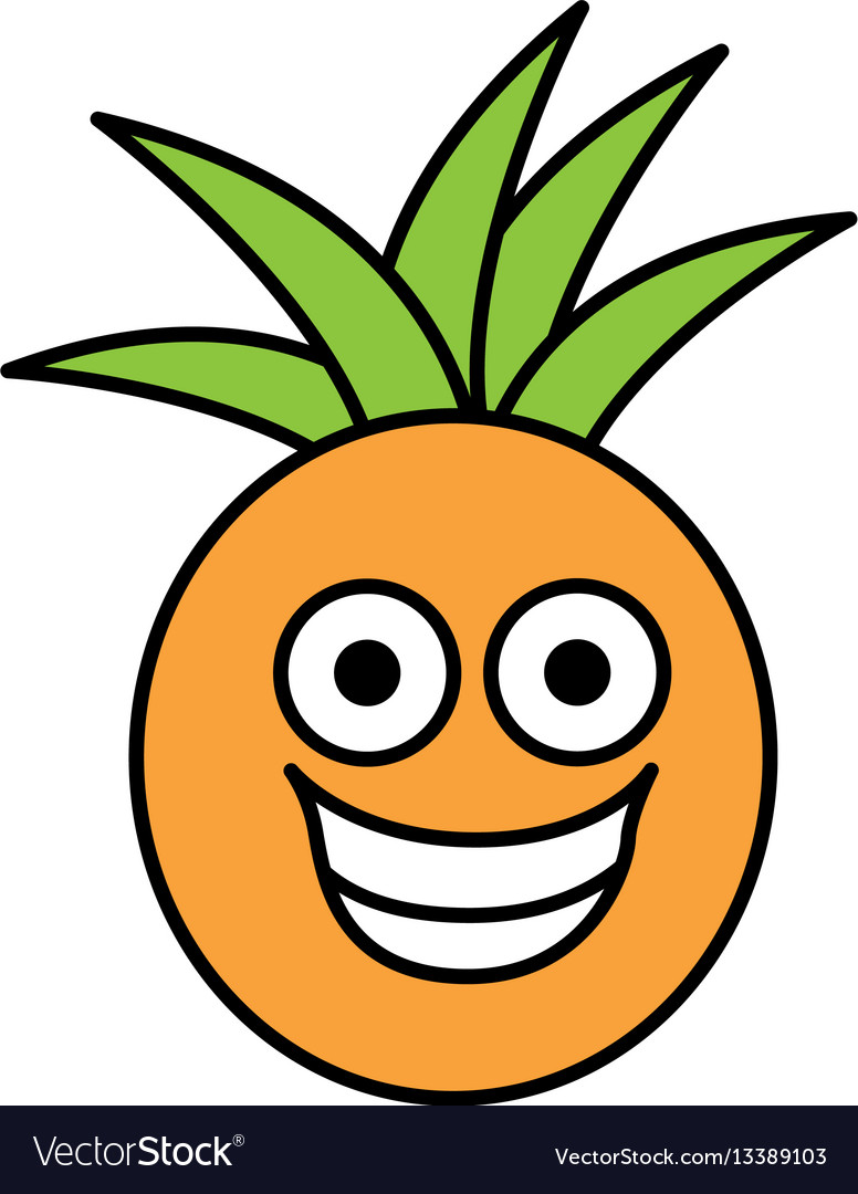Color kawaii fruit pineapple happy icon