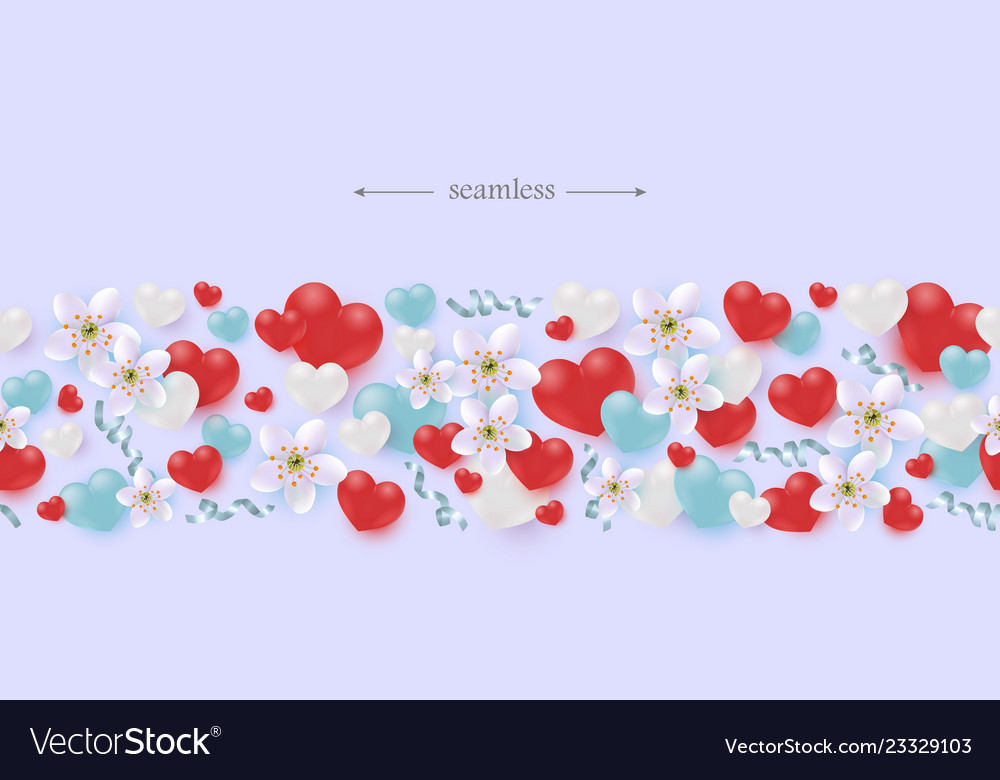 Hearts flowers and ribbons horizontal seamless