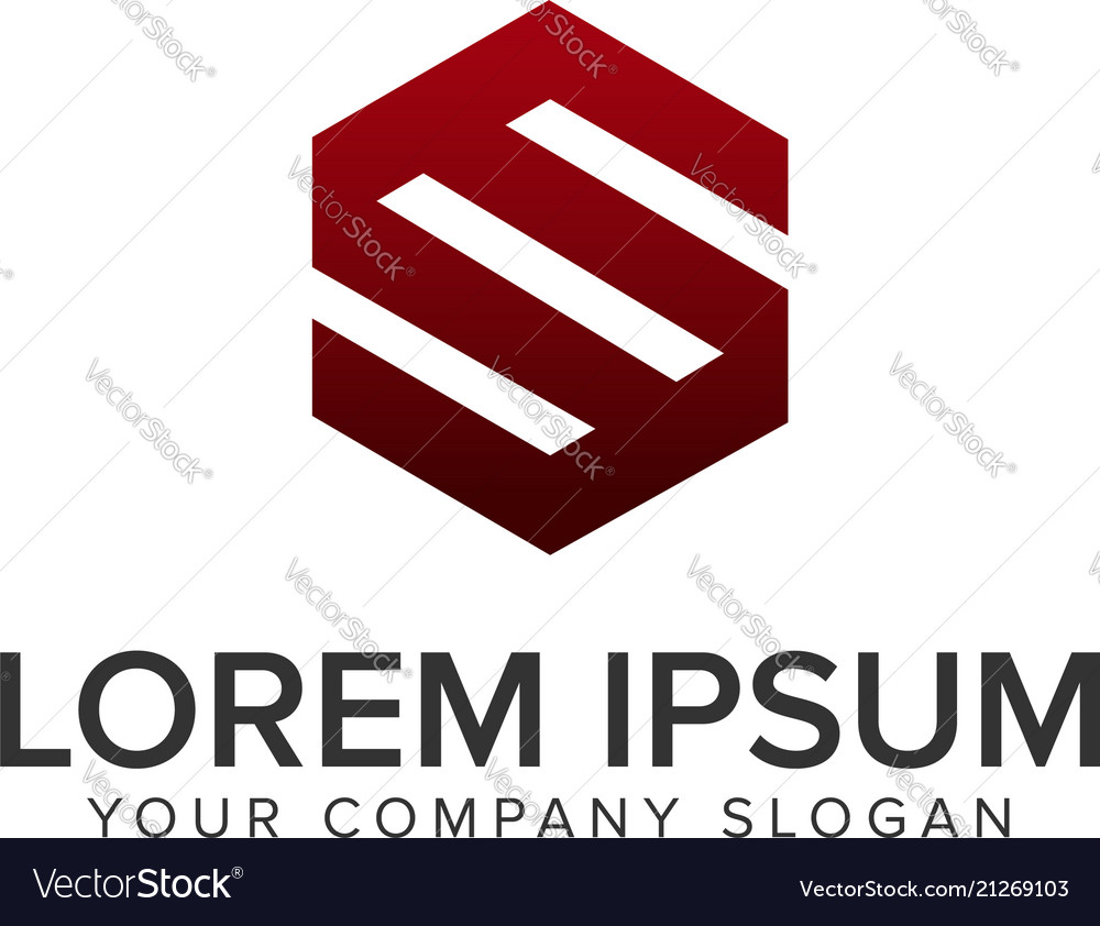 Letter s hexagonal logo design concept template