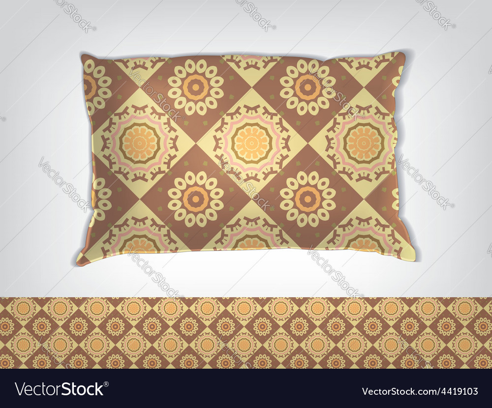 Pillow with indian pattern mockup vector image