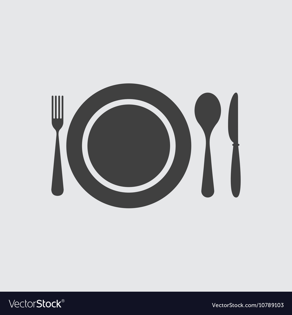 Plate spoon knife and fork icon