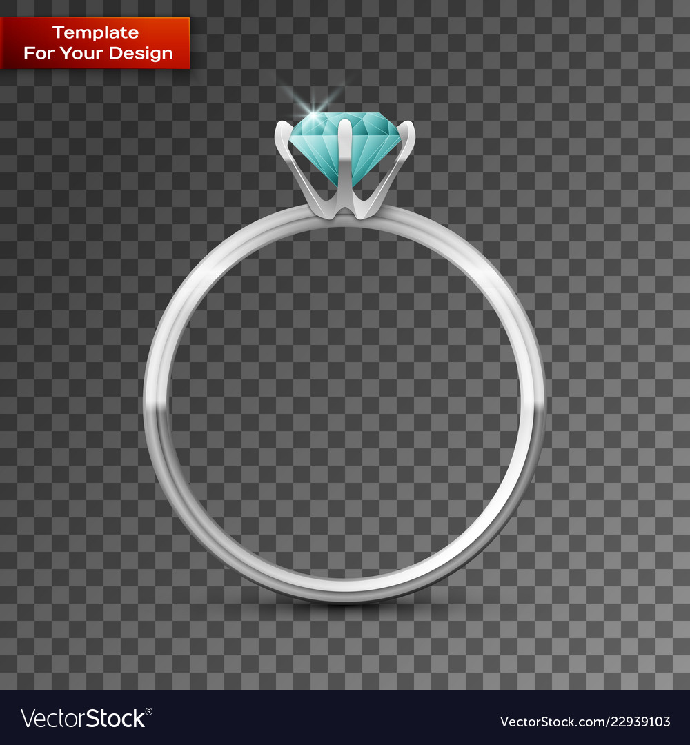 Silver Wedding Ring On Transparent Background Vector Image