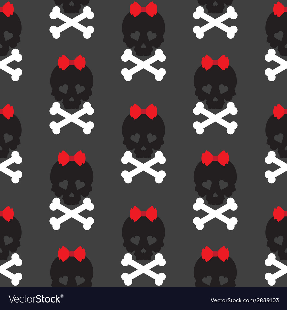 Skull with a bow seamless pattern background