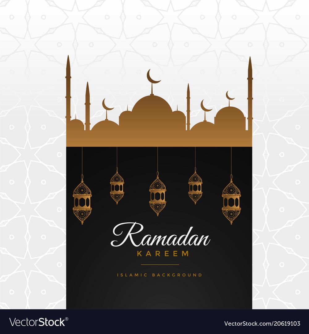 Stylish ramadan kareem beautiful greeting vector image