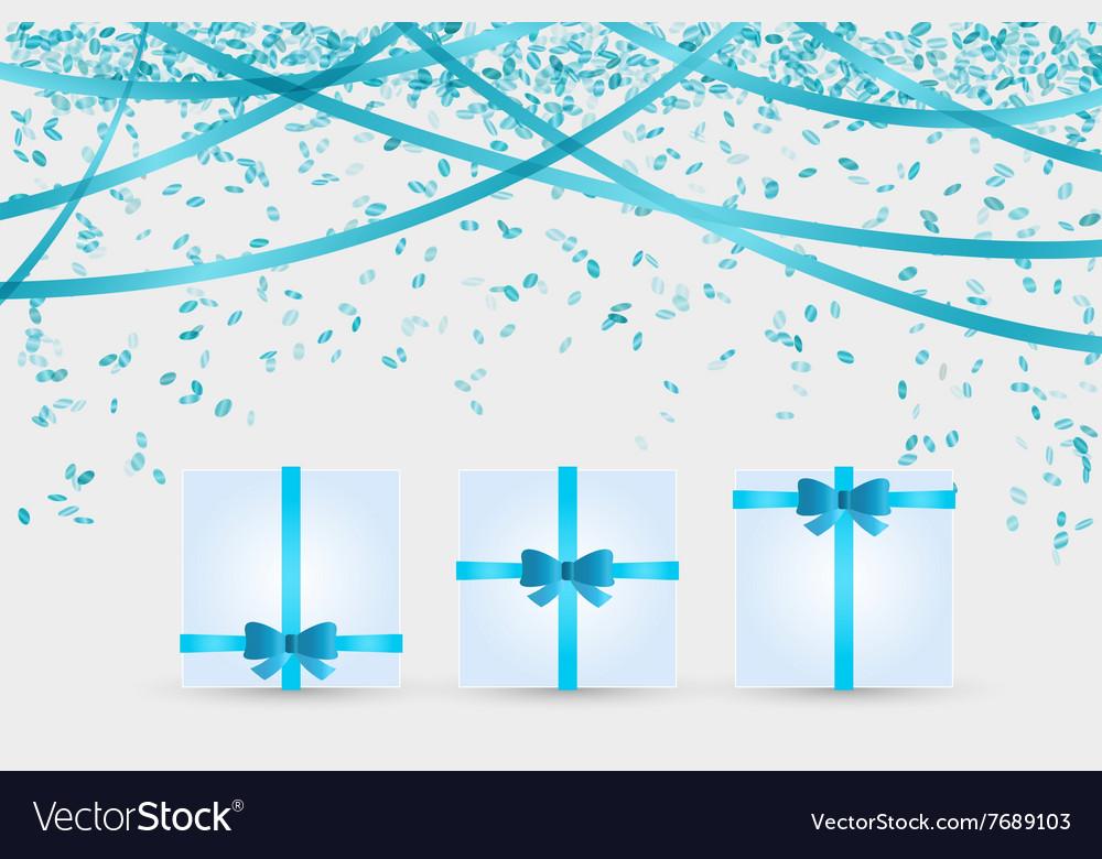 Three presents and confetti vector image