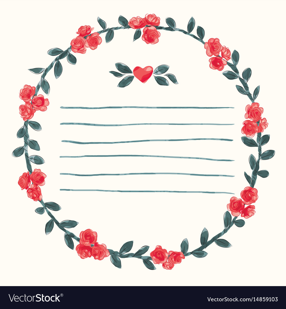 Watercolor round rose flower frame