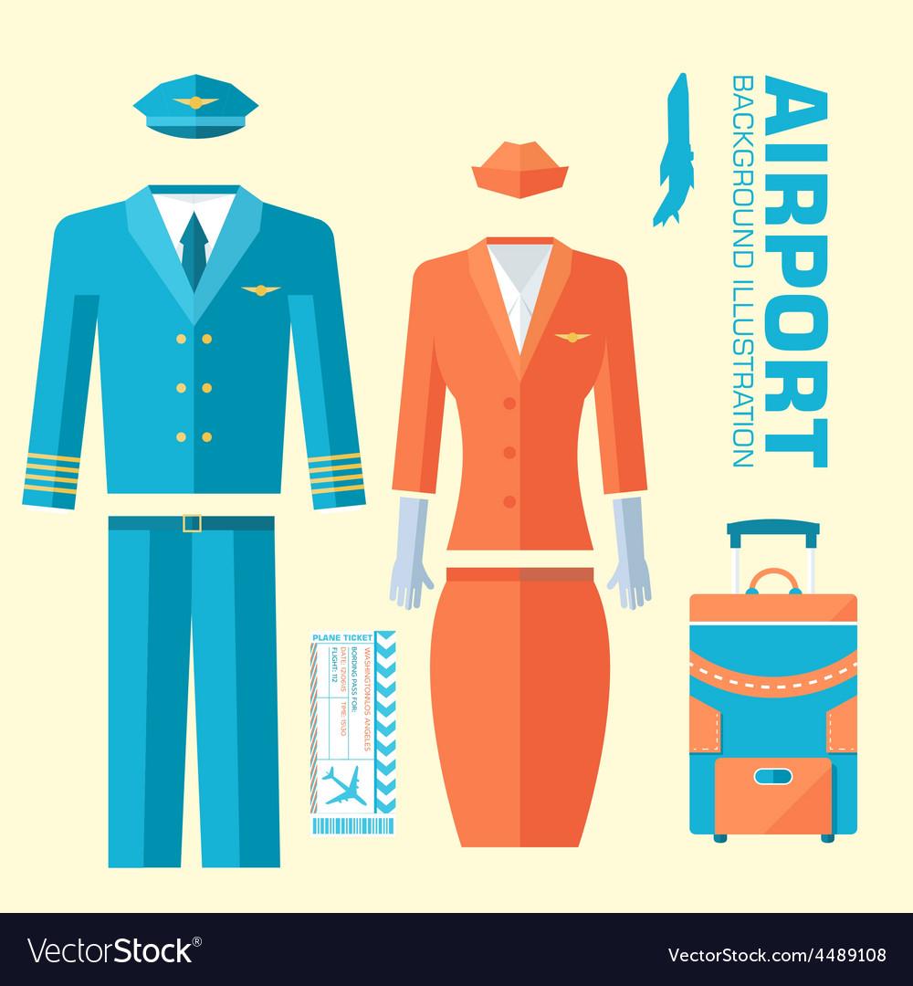 Airplane pilot and stewardess uniform on flat