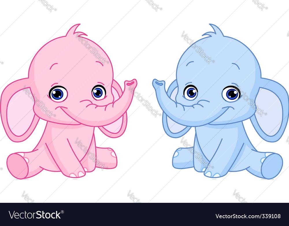 Baby elephants vector image