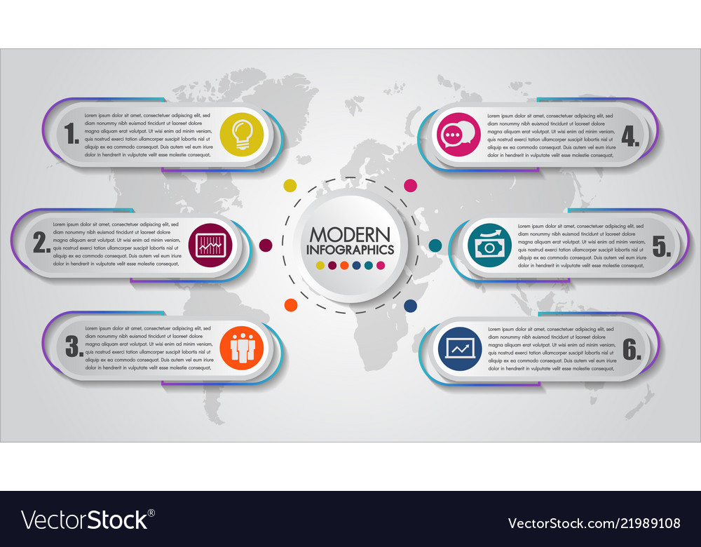 Business infographics 6 steps concept creative