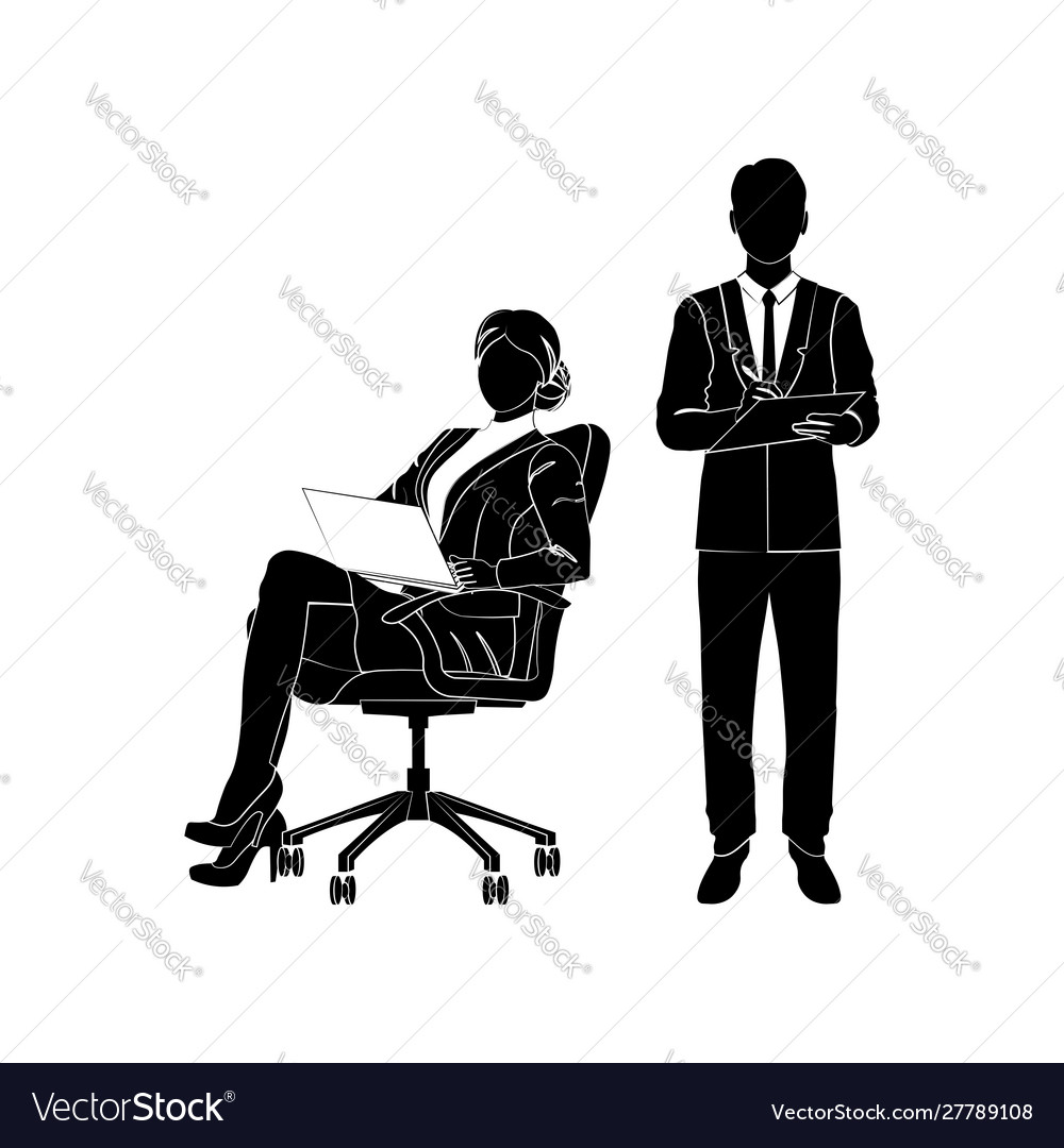 Sits In An Office Chair Vector Image