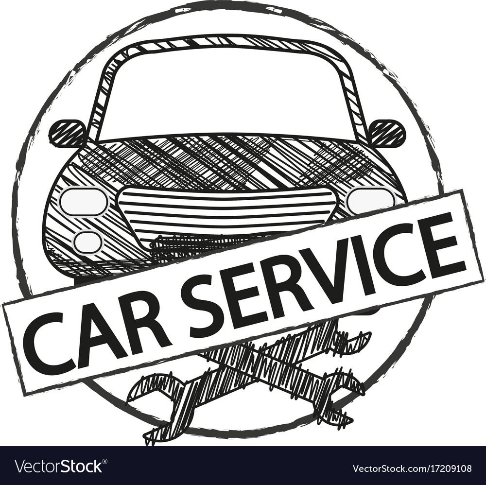 Car service retro logo in doodle style