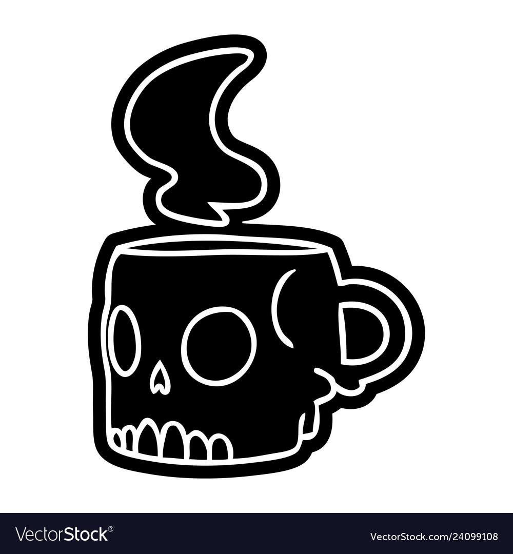 Cartoon Icon Drawing A Skull Mug Royalty Free Vector Image