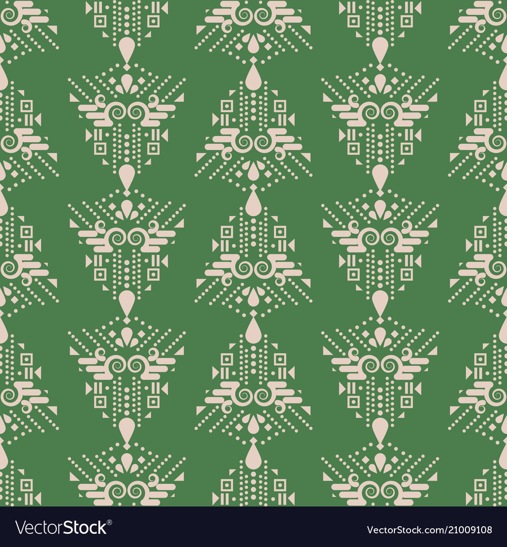 Ethnic green and beige boho simple geometric
