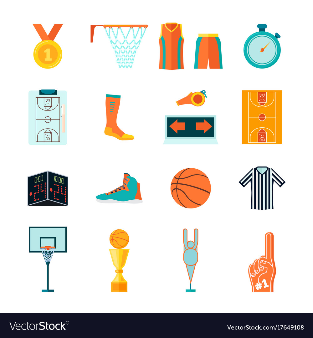 Flat basketball icons ball hoop fan equipment