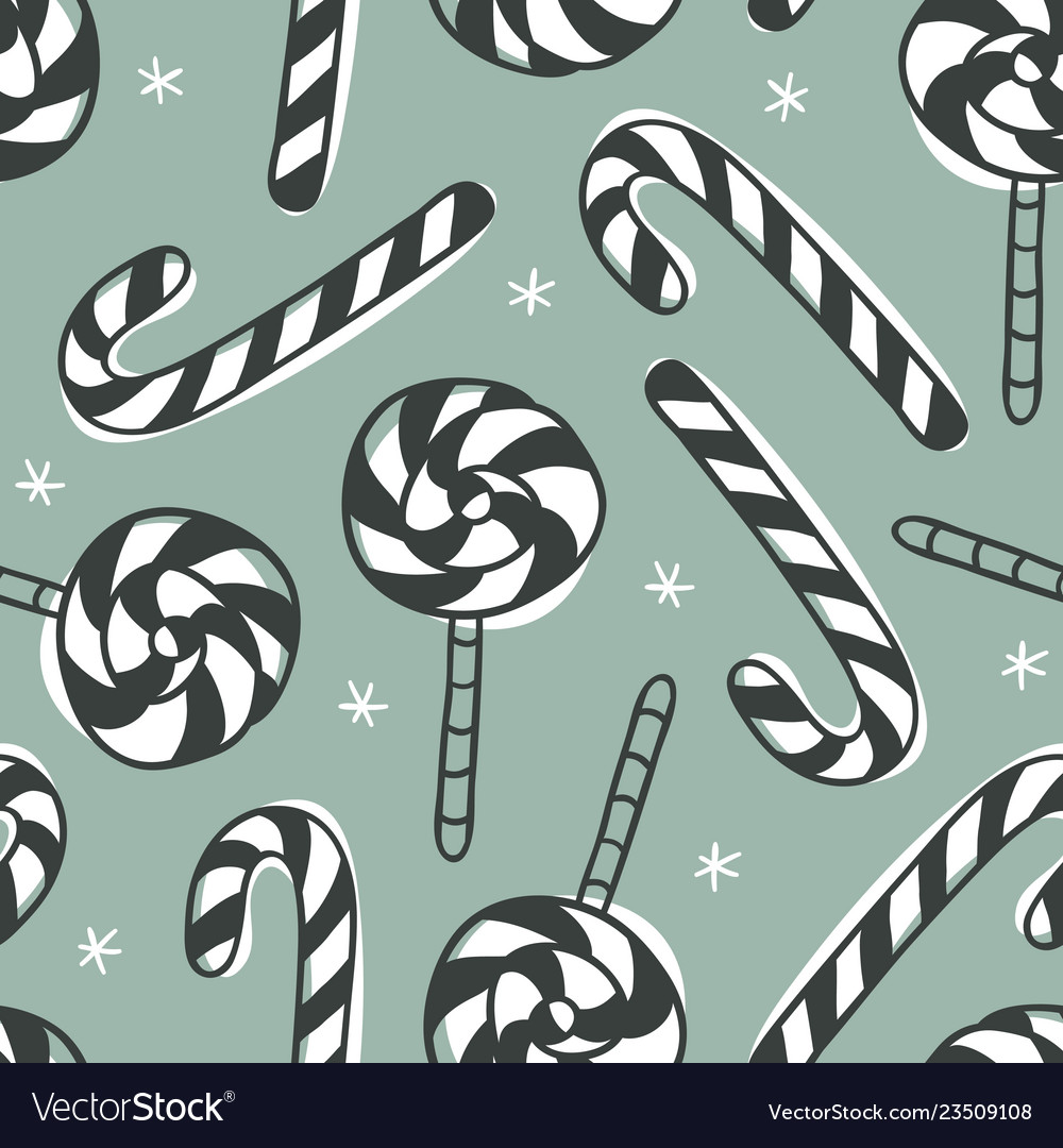 Hand drawn christmas seamless pattern with candy