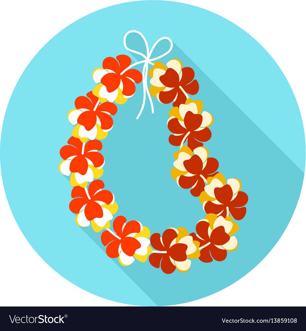 Hawaii flowers necklace wreath icon vacation vector image izmirmasajfo
